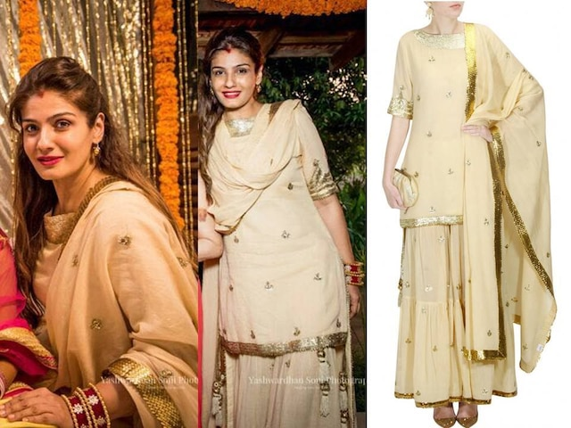 Beige sequins and gota patti work kurta and frilled sharara set by Sukriti & Aakriti
