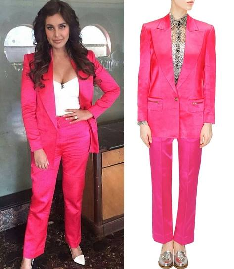Hot pink silk suit by Huemn