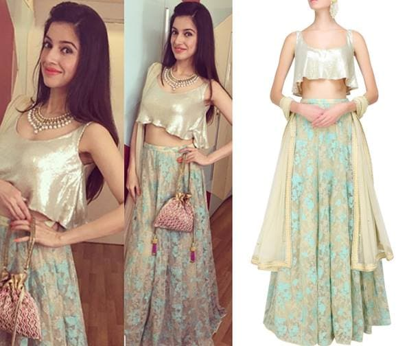 Beige and teal floral embroidered lehenga and sequins flounce crop top set by Pernia Qureshi