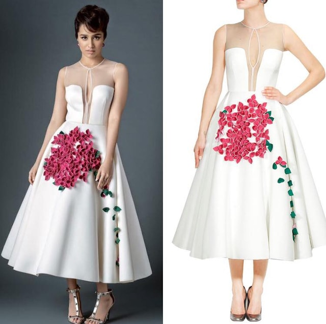 White 3D textured bougainvillea flowers and leaves flared midi dress by Gauri And Nainika