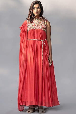 Coral Embellished Gown by Abstract By Megha Jain Madaan