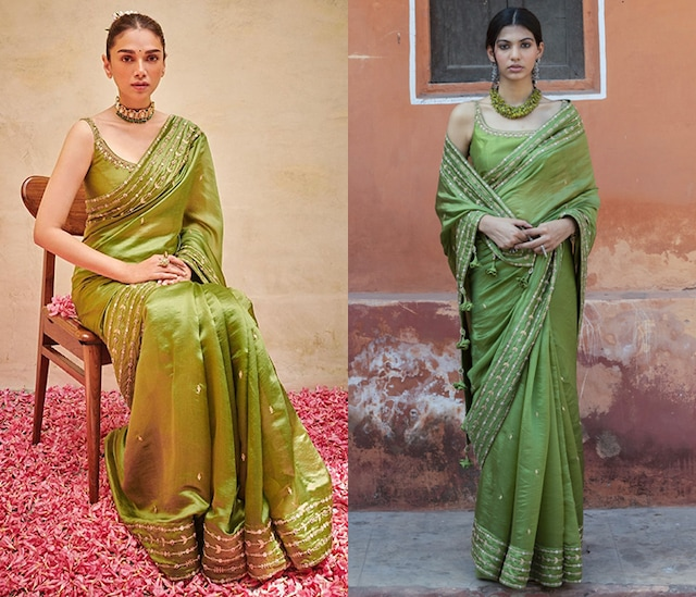 Green Embroidered Saree Set by Punit Balana
