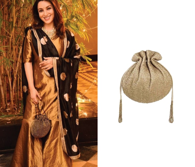 Gold Embroidered Sling Potli by Lovetobag
