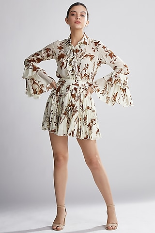 Cream & Brown Floral Skirt by Koai