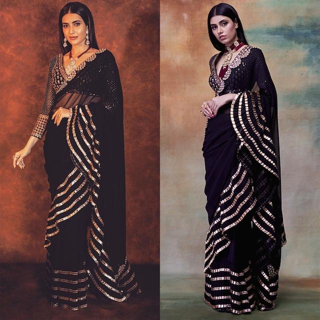 Black Embroidered Saree Set by Vvani by Vani Vats