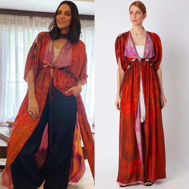 Red Printed & Reversible Kaftan With Belt by Saaksha & Kinni
