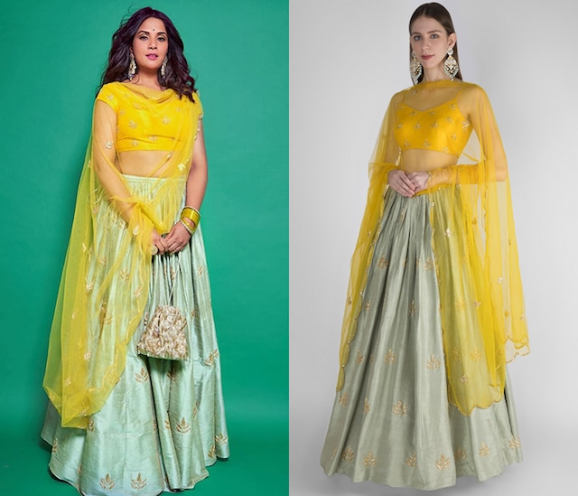 Mint Green Embroidered Lehenga Set by Ease
