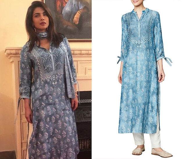 Powder Blue Printed Kurta by Anita Dongre