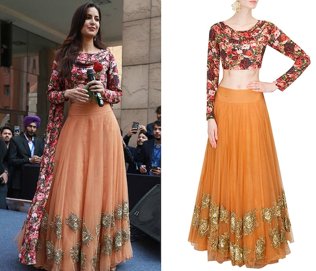 Peach rose embroiderd lehenga with black rose printed blouse by Bhumika Sharma