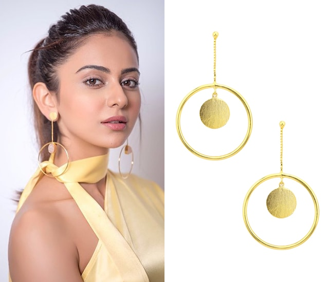 Gold Plated Round Drop and Chain Earrings by Aaree Accessories