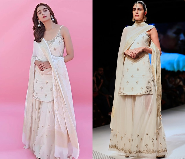 White Embroidered Floral Motif Sharara Set by Anita Dongre