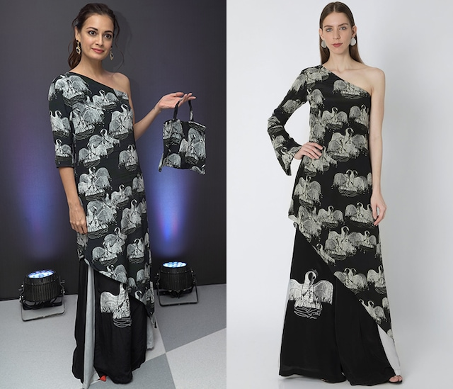 Black & Ivory Digital Printed Tunic Set With Bag by Masaba