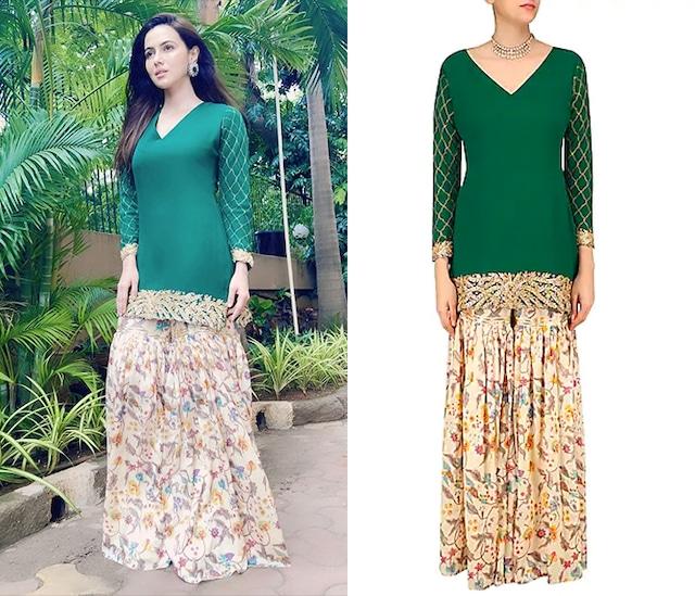 Emerald Green Embroidered Short Kurta with Off White Floral Print Garara Pants by Ruchira Nangalia