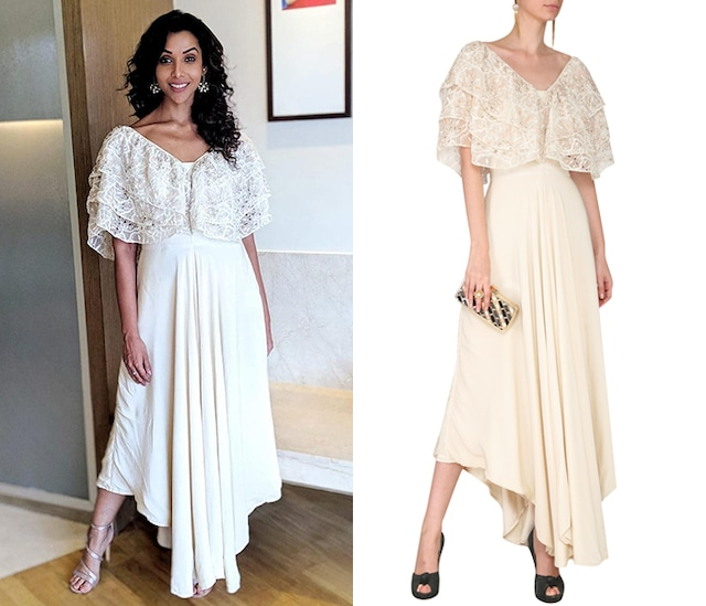 Ivory Cutwork Ruffles Jumpsuit by Aashna Behl