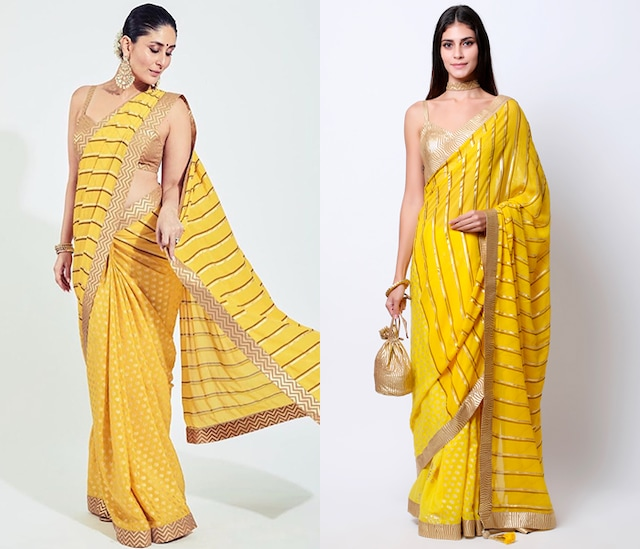 Yellow Embroidered & Printed Saree Set by Nikasha