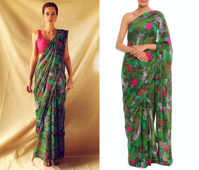 Green Basil, Unicorn & Meadow Printed Banarasi Saree Set by Masaba