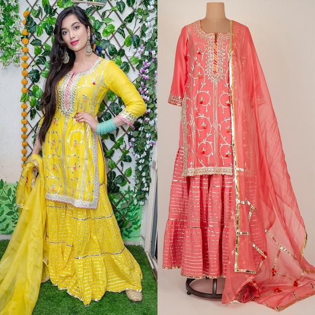 Pink Embroidered Sharara Set by GOPI VAID