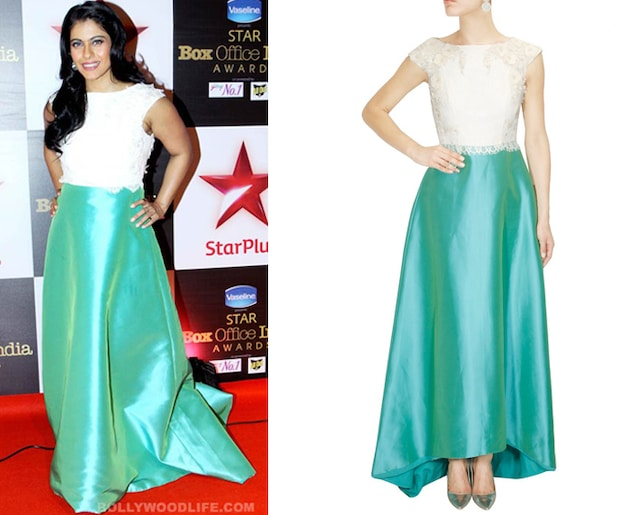 Turquoise green and white beaded flared gown by Hema Kaul