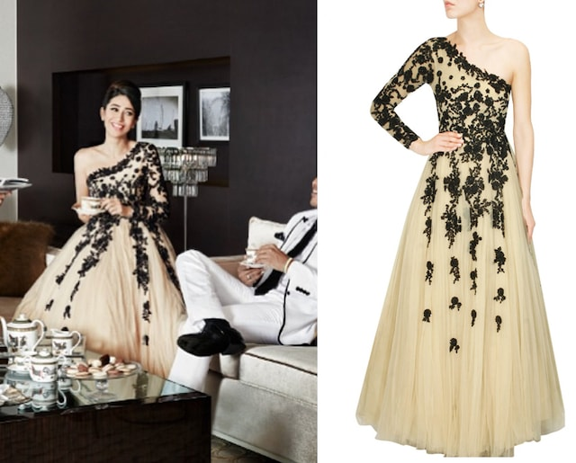 Light nude colour black beaded one shoulder gown by Hema Kaul