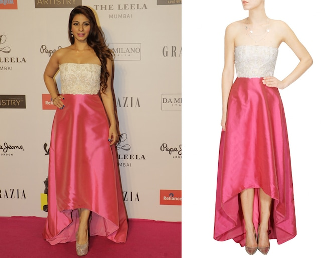 Fuschia pink and white high low beaded gown by Hema Kaul