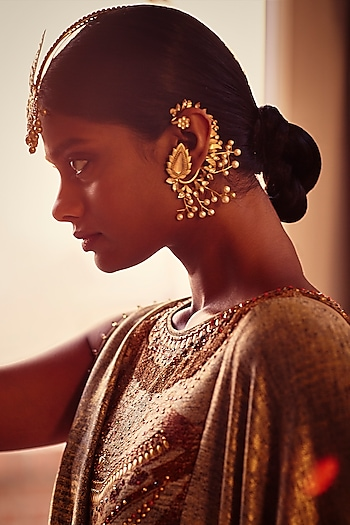 Rose Gold Finish Zircon & Pearl Ear Cuffs by Tarun Tahiliani