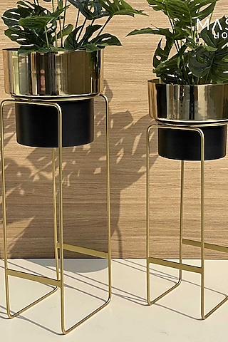 Golden & Black Iron Planters (Set of 2) by Mason Home