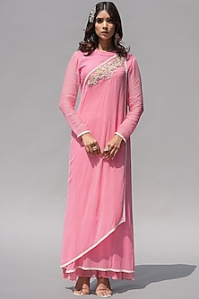 Pink Floral Embellished Dress by Abstract By Megha Jain Madaan-ABSTRACT BY MEGHA JAIN MADAAN