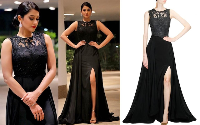 Black threadwork and sequins embroidered flared gown by Deepankshi And Reena