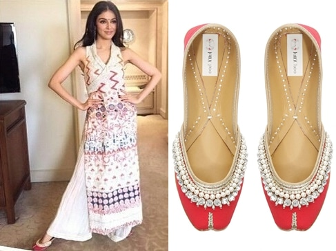 """Red """"Ruby"""" diamonds and pearls embellished juttis by Juttichoo"""