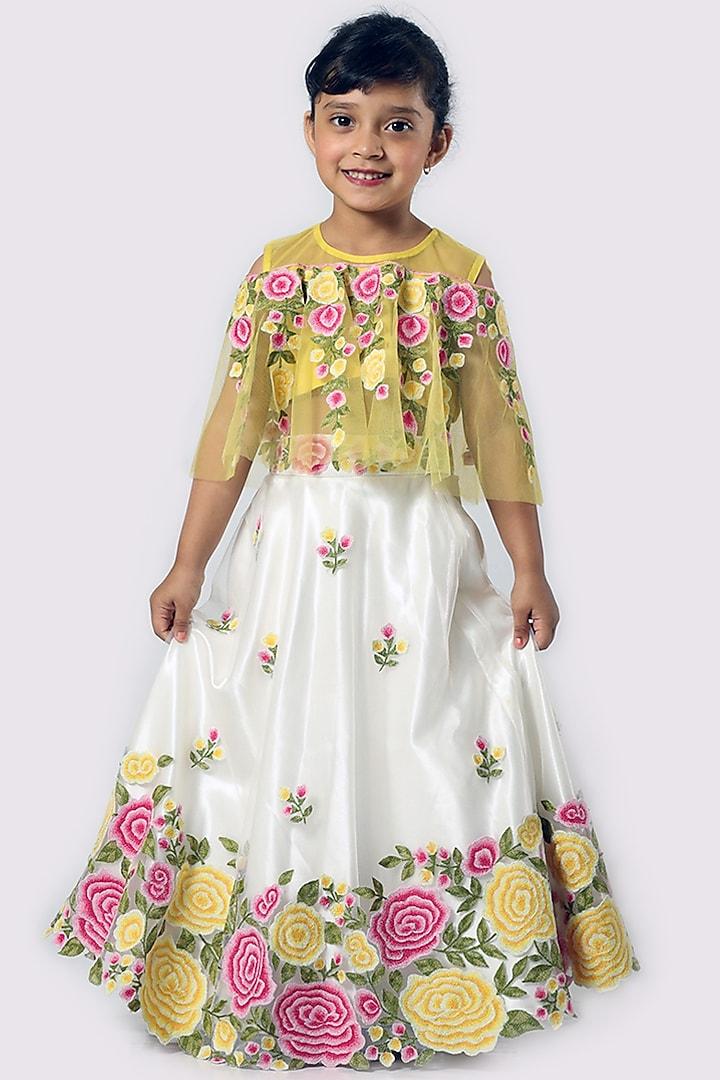 Yellow & Ivory Embroidered Lehenga Set by Neha Gursahani