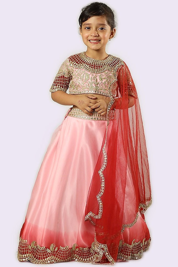 Pink & Red Embroidered Lehenga Set by Neha Gursahani