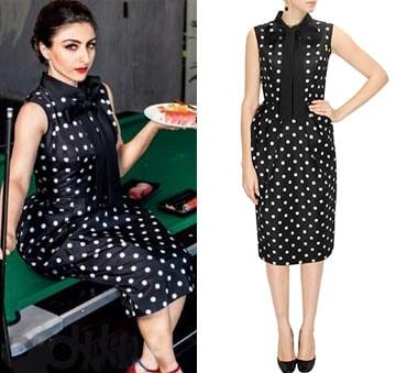 Black polka dot printed dress by Ashish N Soni