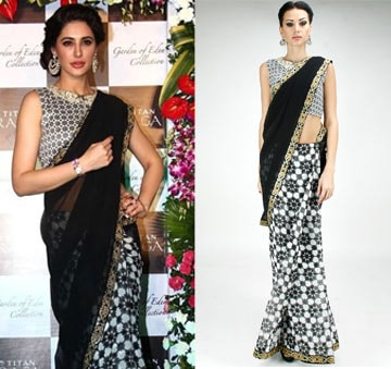 Half and half embroidered sari with black and white printed blouse by SVA BY SONAM & PARAS MODI