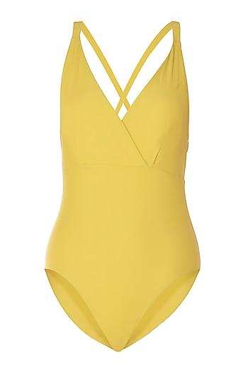 Yellow crossed back one piece by PA.NI Swimwear