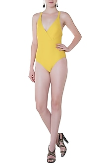 Yellow crossed back one piece by PA.NI Swimwear