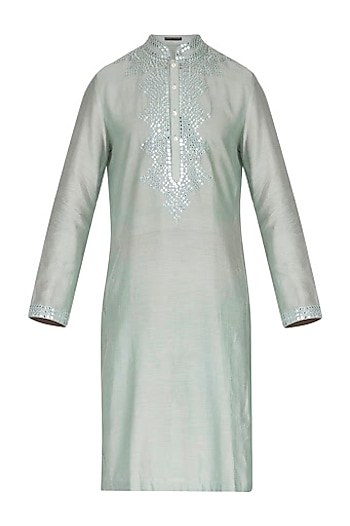 Mint Green Embellished Kurta by Pranay Baidya Men