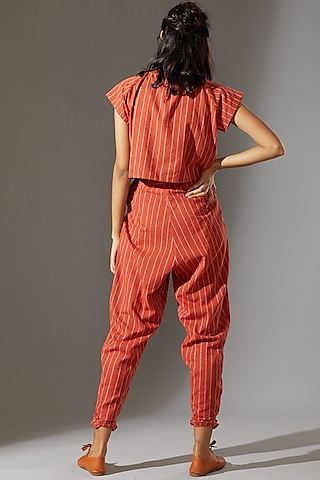 Rust Ribbed Pant Set by Mati