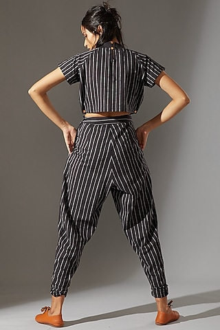 Black Ribbed Pant Set by Mati