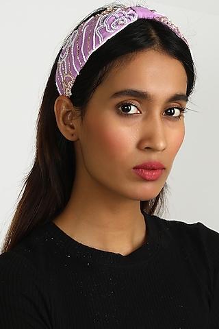 Purple Abstract Embroidered Headband by Diya Aswani x Babita Malkani