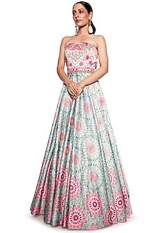 Pink & Green Embroidered Gown by SIDDHARTHA BANSAL-SIDDHARTHA BANSAL