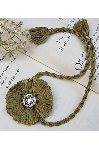Olive Green Handcrafted Rakhi (Set of 2) by THE LITTLE SOUVENIR