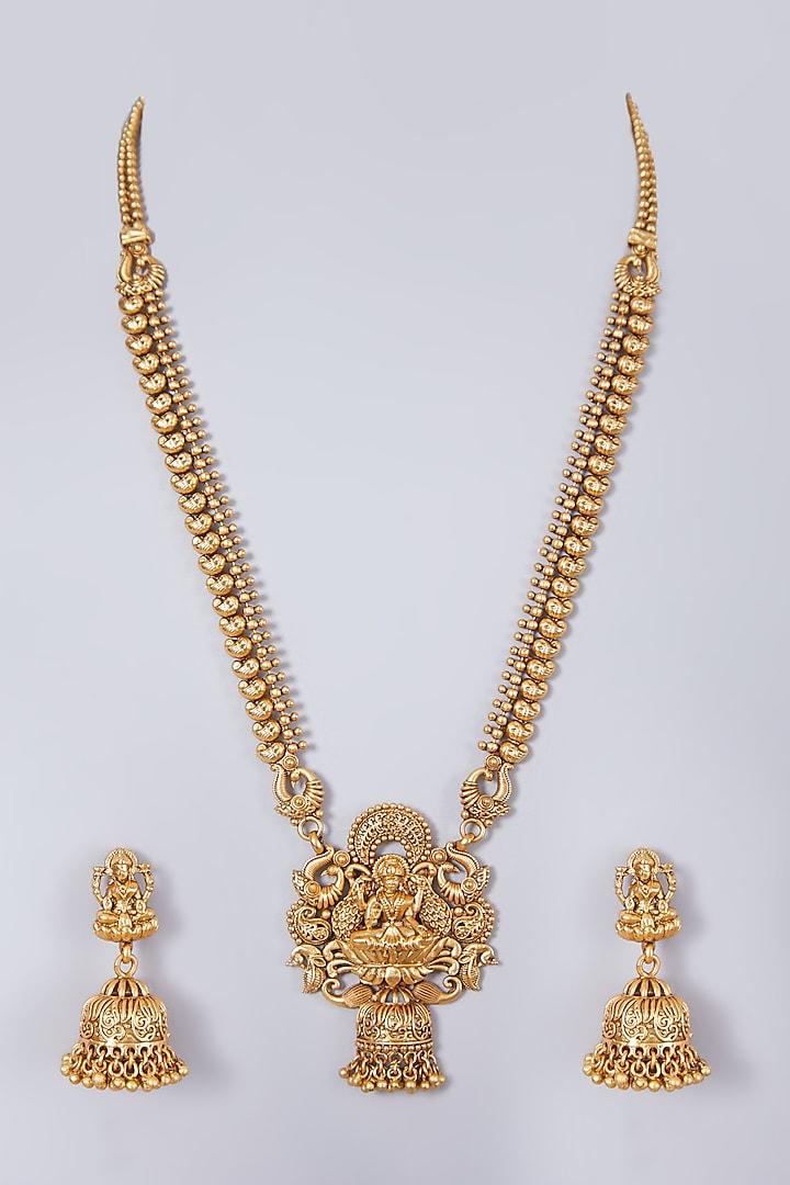 Gold Finish Lakshmi Carved Long Necklace Set by 20AM