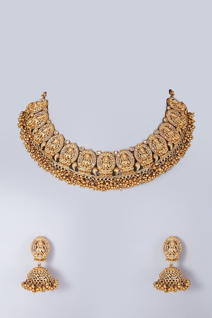 Gold Finish Metal Beaded Long Necklace Set by 20AM