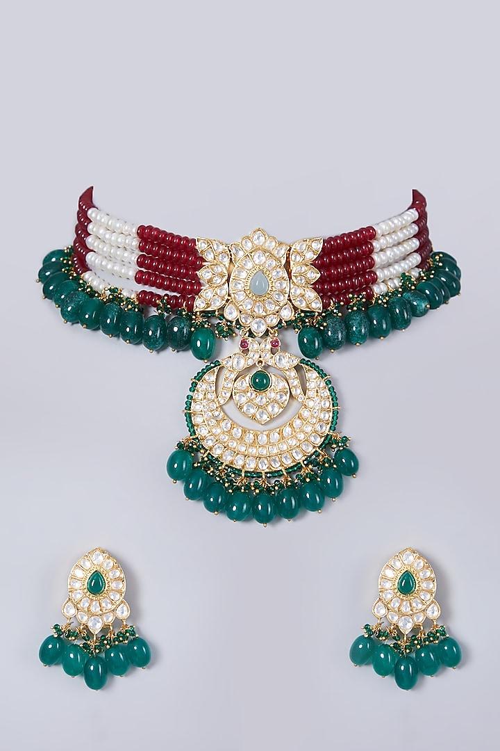 Gold Finish Green Stone Choker Necklace Set by 20AM