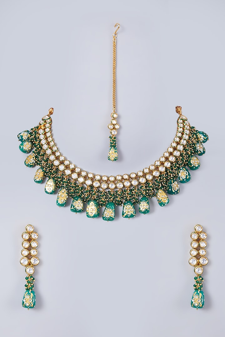 Gold Finish Green Beaded Necklace Set by 20AM
