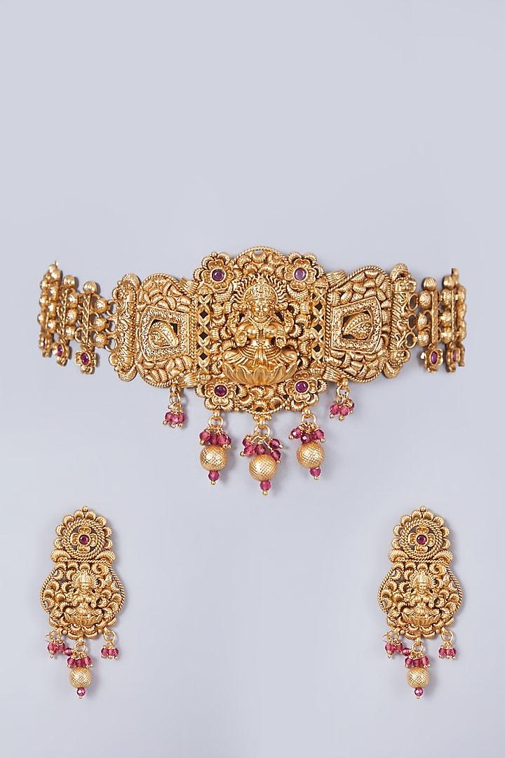 Gold Finish Lakshmi Carved Choker Necklace Set by 20AM