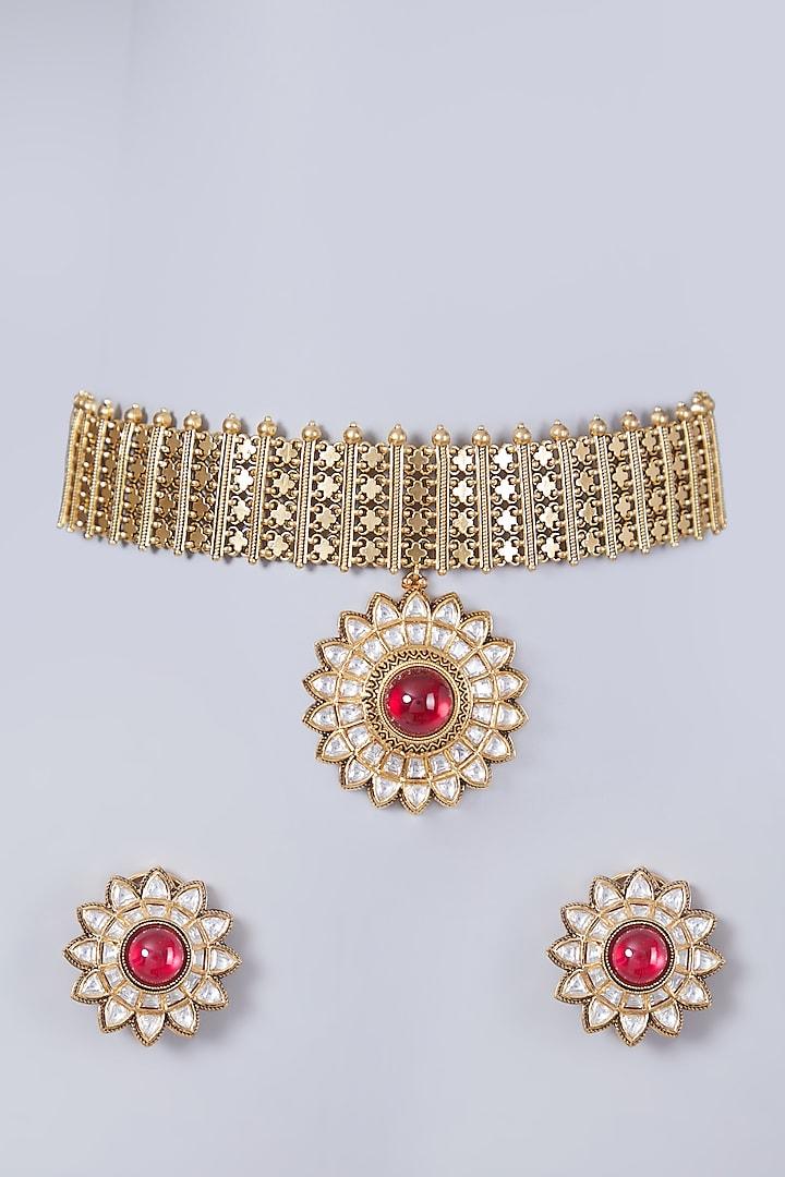Gold Finish Kundan Polki Choker Necklace Set by 20AM