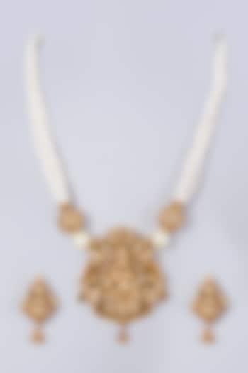 Gold Finish Lakshmi Pendant Necklace Set by 20AM