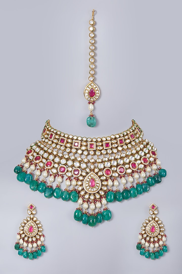 Gold Finish Green Stone Bridal Necklace Set by 20AM