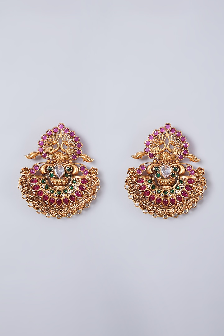 Gold Finish Green & Red Stone Temple Earrings by 20AM